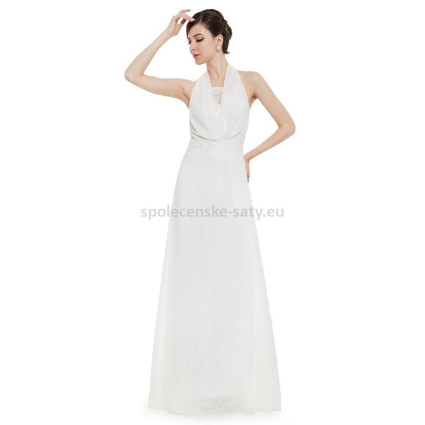 Bílé dlouhé svatební šaty za krk jednoduché šifon 40-42 výprodej ... b82efeae2c