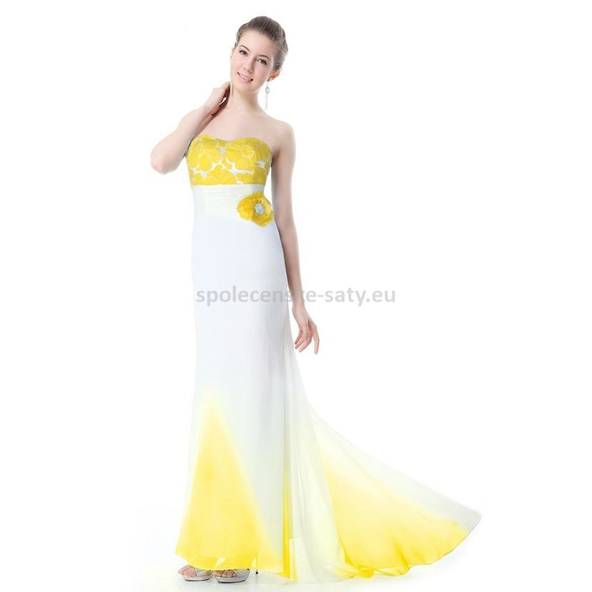 Bílé žluté svatební společenské šaty dlouhé s vlečkou korzetové 34 XS MEGA  výprodej bd32ba5fba