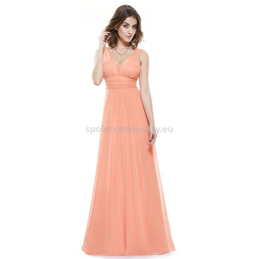 Broskvové dlouhé šaty na hrubší ramínka na svatbu i pro těhulky 46 ... 423d565bc8