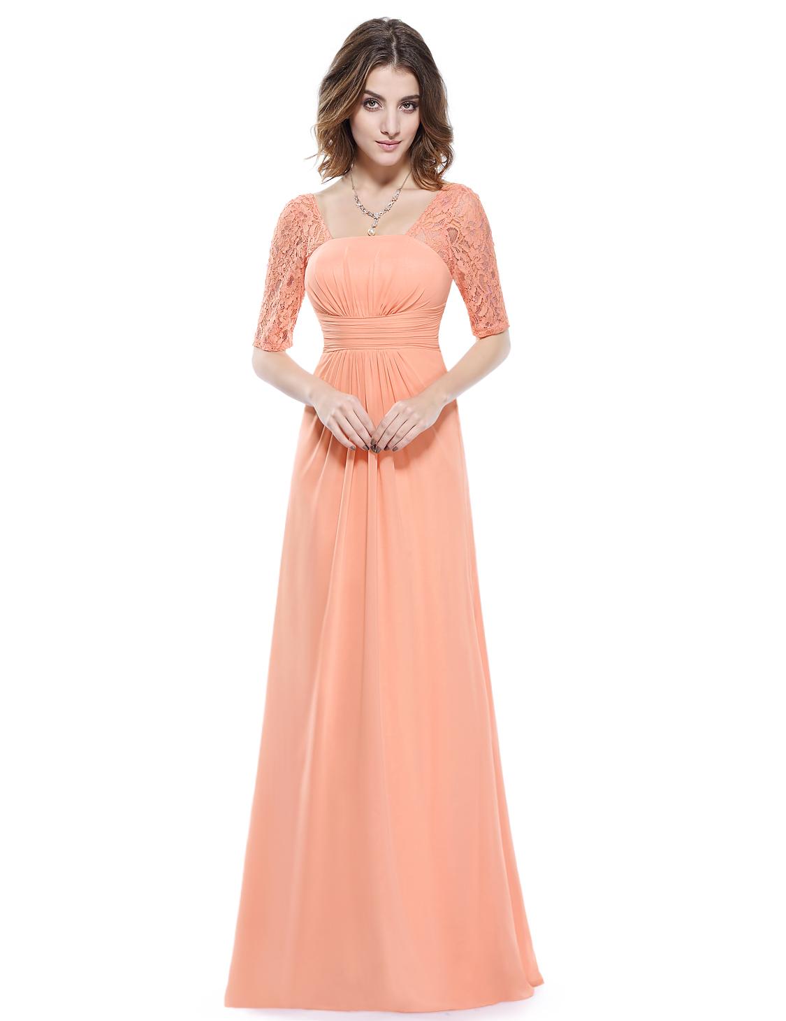 7d08e8ef0ba Broskvové dlouhé šifonové šaty s krajkovým rukávem elegantní večerní šaty  36 S