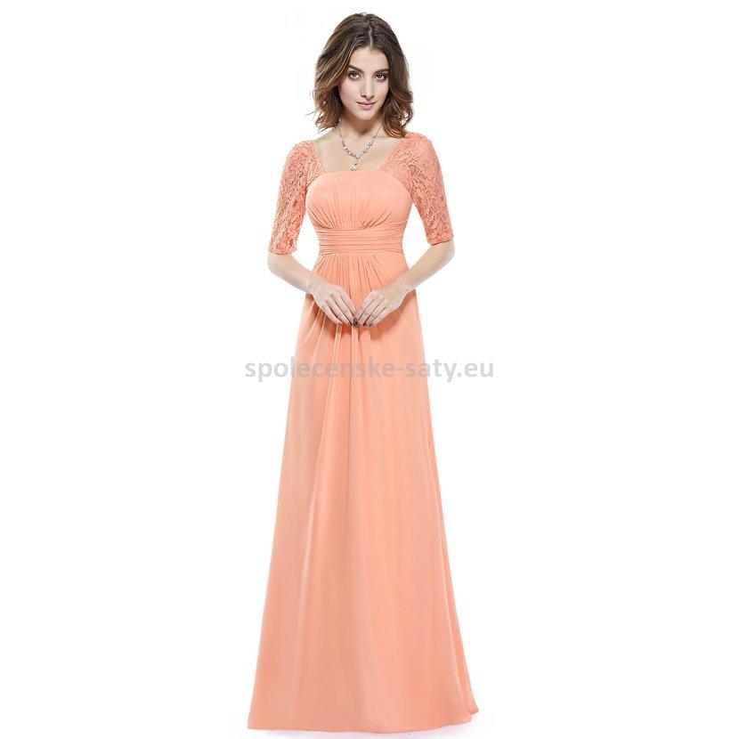 Broskvové dlouhé šifonové šaty s krajkovým rukávem elegantní večerní šaty  42 XL 822f80ecb5