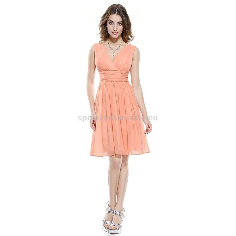 Broskvové krátké elegantní šaty na hrubší ramínka 42 XL ... 0f704e8660
