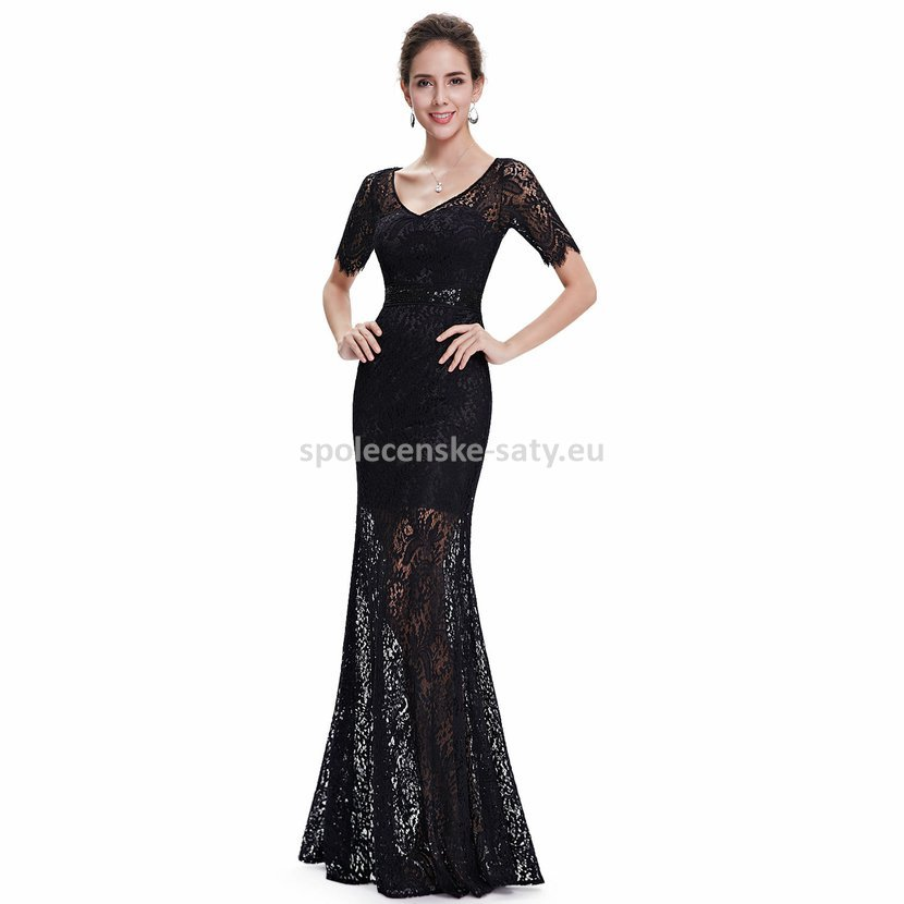 Černé dlouhé krajkové šaty pouzdrové s rukávem 42 XL  db9bb1f6b3