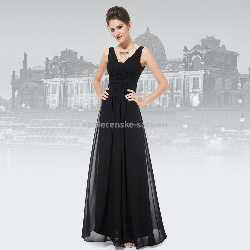Černé dlouhé šifonové šaty hrubší ramínka na svatbu či ples 38 ... 90430de459