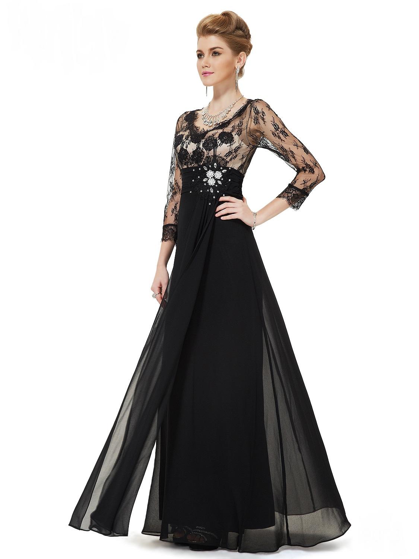 81abc06bf5f6 Černé dlouhé luxusní šaty šifonové s krajkovým rukávem na vysoké 36 ...