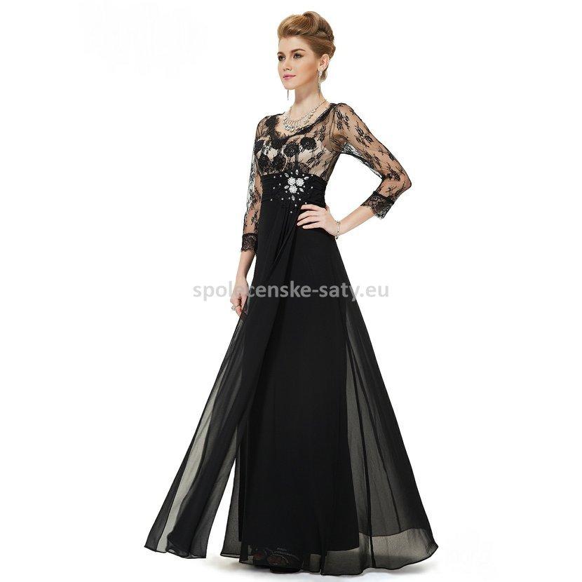 02bc6c0d30d Černé dlouhé luxusní šaty šifonové s krajkovým rukávem na vysoké 36 ...