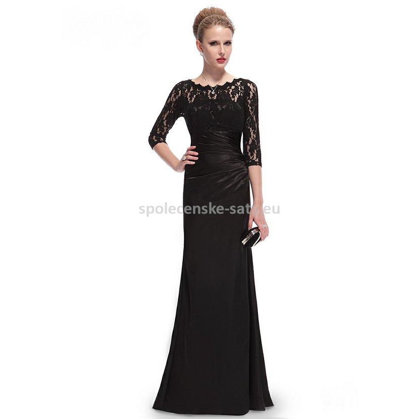 7448195f22da Černé dlouhé pouzdrové šaty s 3 4 krajkovým rukávem elegantní 42 XL ...