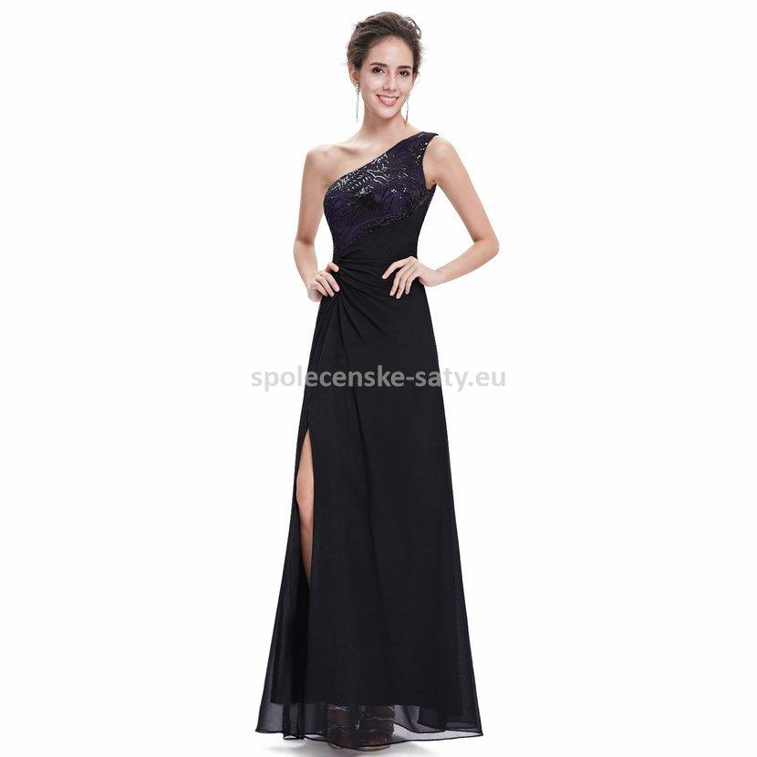 Černé dlouhé plesové šaty na jedno rameno s fialovou 34 XS  4fe58d5d55
