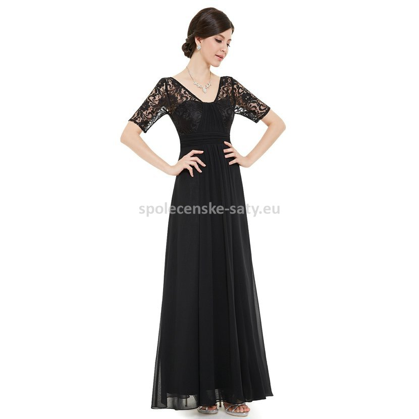 628d8921833 Černé dlouhé společenské šaty s krátkým rukávem na ples svatbu 34 XS ...