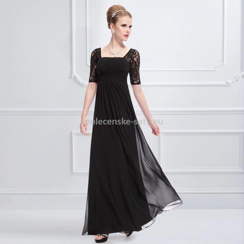 a516fdf5ef2 Černé dlouhé šifonové šaty s krajkovým rukávem elegantní večerní šaty 42 XL