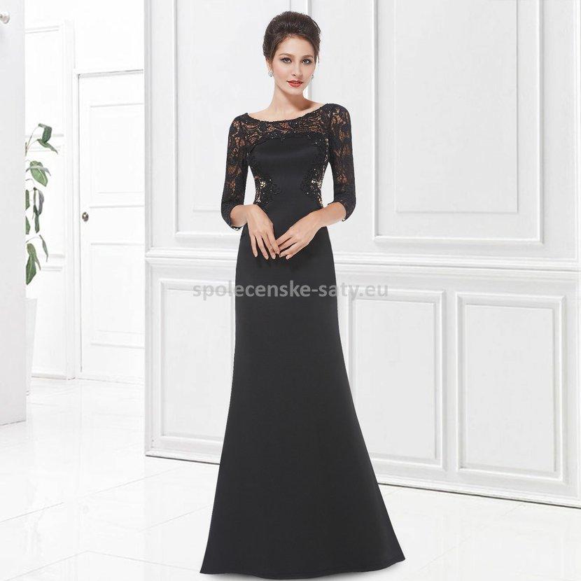 da4cb8efcc2 Černé dlouhé večerní šaty s krajkovým rukávem úzký střih 36 S ...
