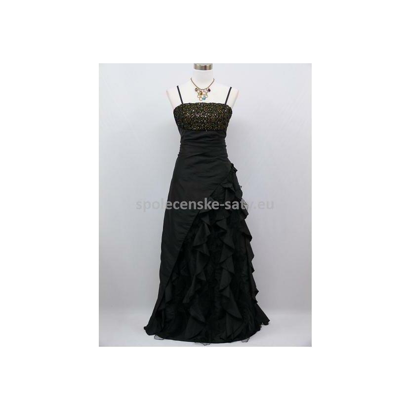 Černé dlouhé společenské šaty s volány a zlatým topem 48-50 ... 0cb4be9489e