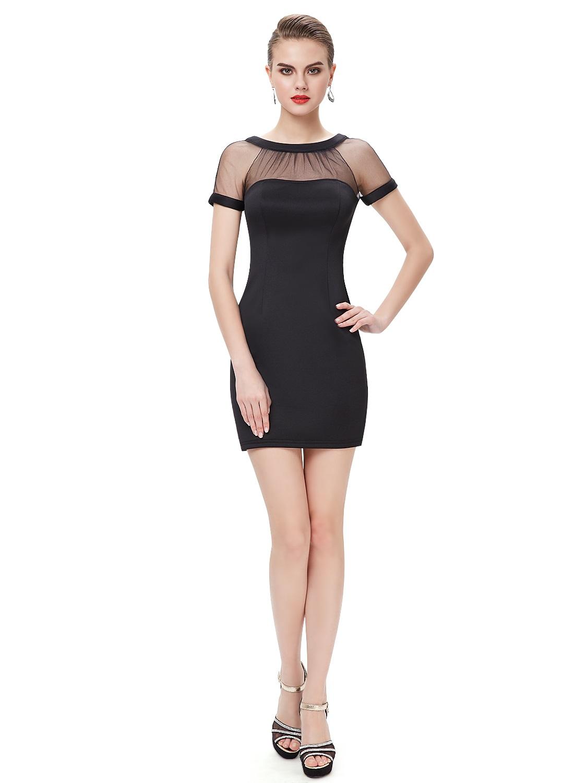 ba2007457746 Černé krátké pouzdrové šaty koktejlky s rukávem 34 XS