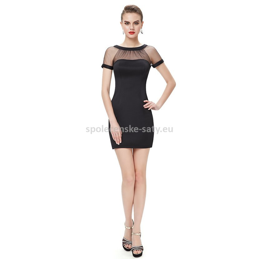Černé krátké pouzdrové šaty koktejlky s rukávem 34 XS  db59659ff1