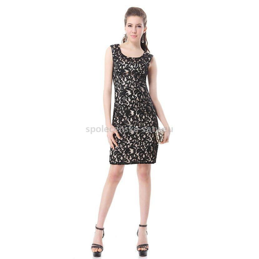 Černé krátké koktejlky pouzdrové krajkové šaty 34 XS  c38e128510c
