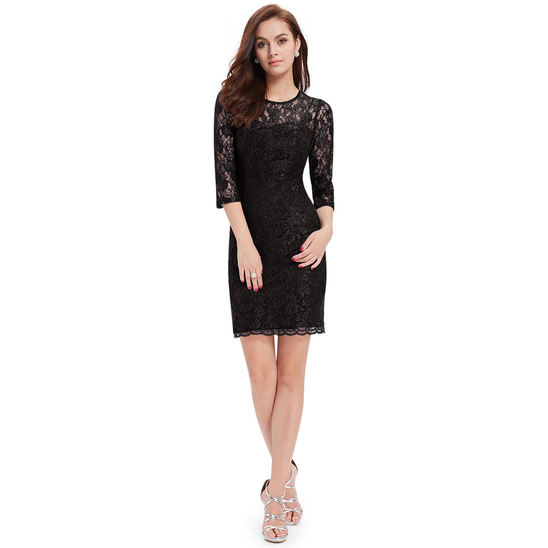 Černé krátké krajkové šaty s rukávem koktejlky 38 M  22cde07f2e