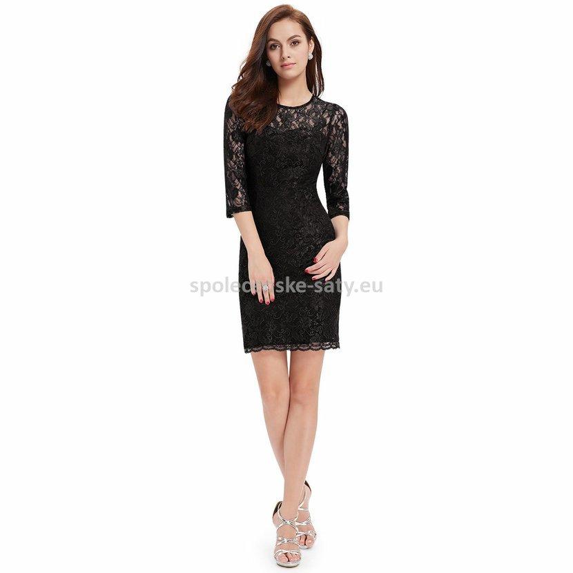 6aab3259a37e Černé krátké krajkové šaty s rukávem koktejlky 38 M