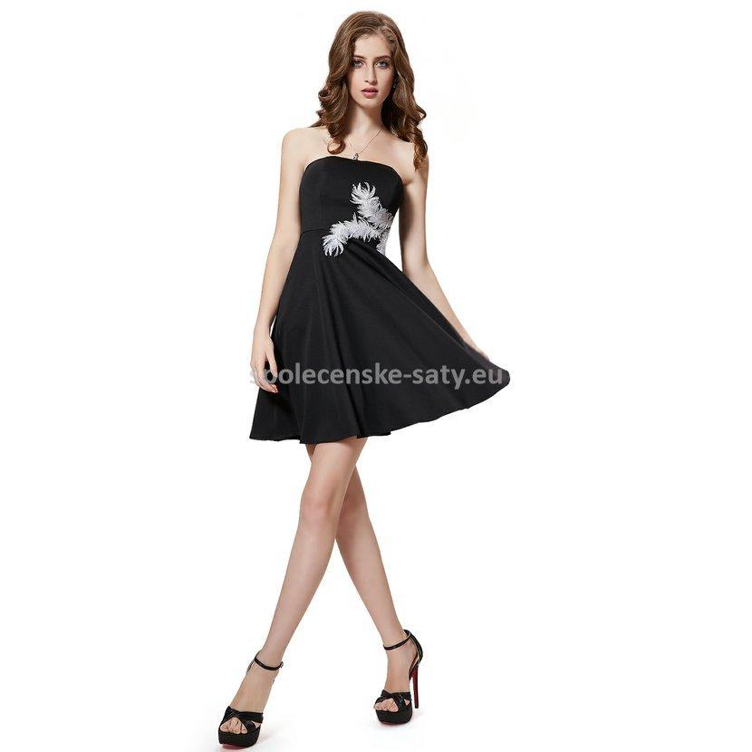 cf6115e96495 Černé krátké společenské šaty koktejlky bez ramínek 38 M ...