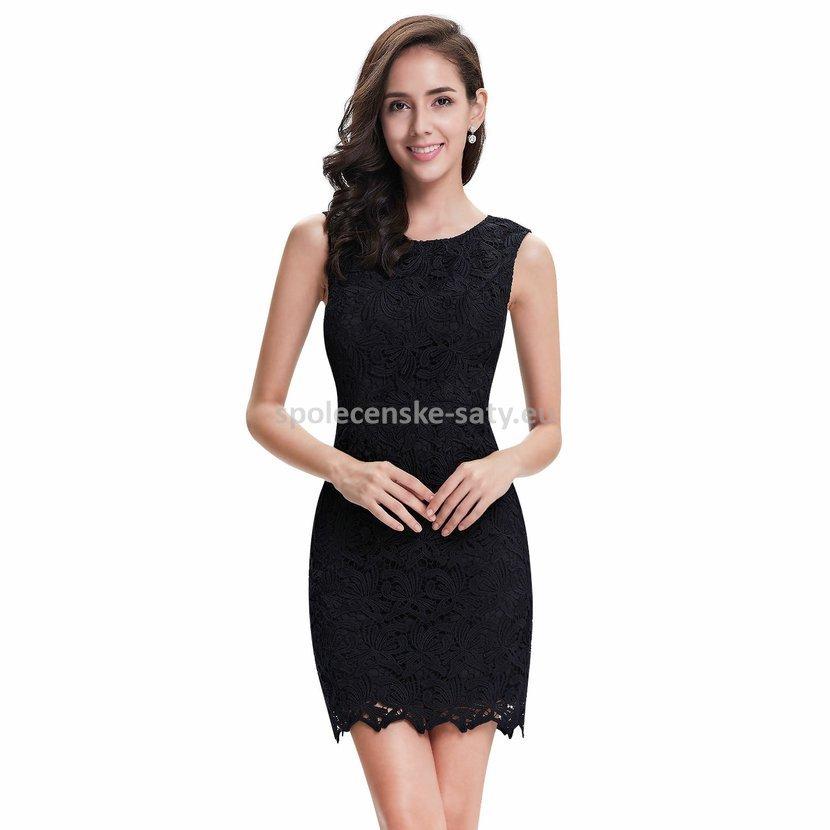 d5101c2bc031 Černé krátké společenské šaty krajkové koktejlky 38-40