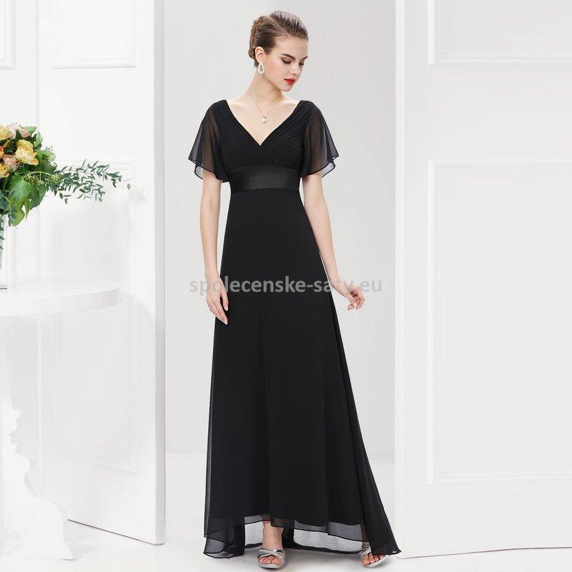 014e3eec8f3f Černé dlouhé šaty společenské s rukávem na svatbu ples 38 M ...