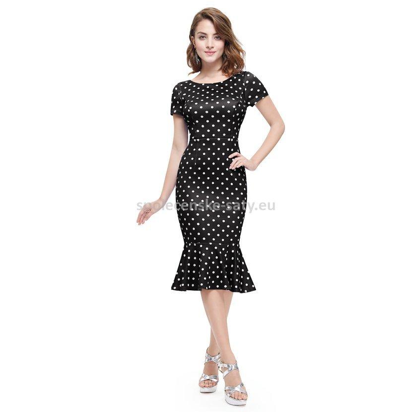 Černobílé krátké společenské šaty pouzdrové s rukávem puntíkované 44 ... 1bf22c88898