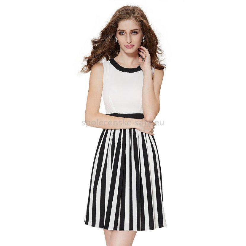 02064f8c0c3 Černobílé krátké společenské šaty koktejlky bez rukávů 40 MEGA výprodej
