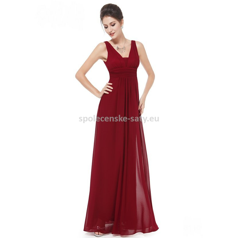 Vínové dlouhé společenské šaty hrubší ramínka na svatbu i pro těhotné 42 XL d219028be9