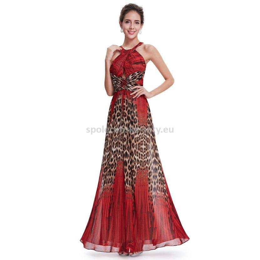 Červené dlouhé společenské šaty se zvířecím vzorem 40 L ... ea554dcdc80