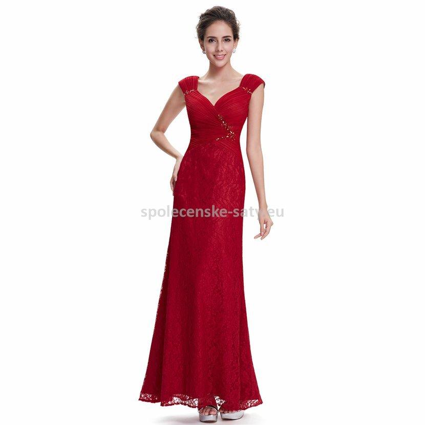 5bf2266fcbcb Červené dlouhé šaty krajkové pouzdrové 34 XS