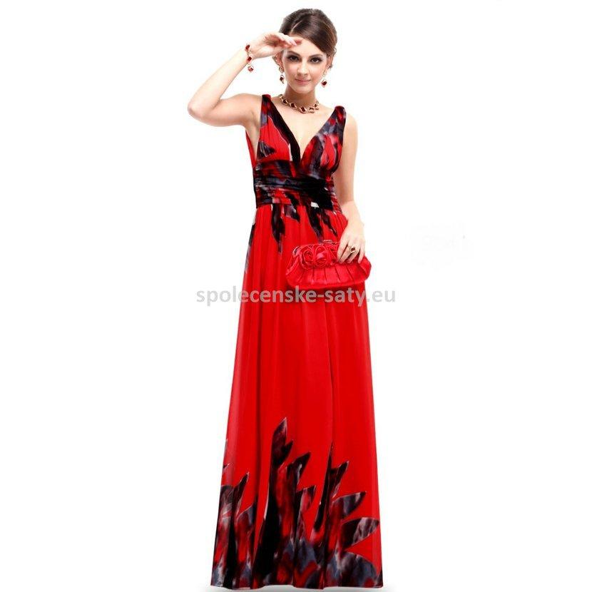 Červené dlouhé společenské šaty na svatbu dovolenou se vzorem 36 S výprodej 6135946338