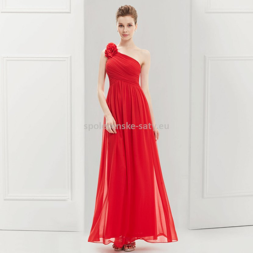 Červené dlouhé společenské šaty na jedno rameno jednoduché 42 XL ... 43e9d67c1f