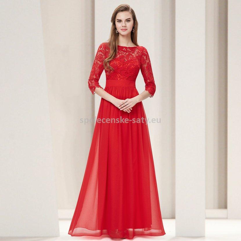 bc0cca52c1f Červené dlouhé společenské šaty s krajkovým rukávem 44 XXL ...