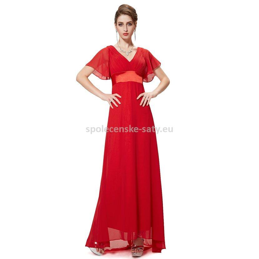Červené dlouhé luxusní šaty společenské svatební plesové s rukávem 38 M e7d1017175