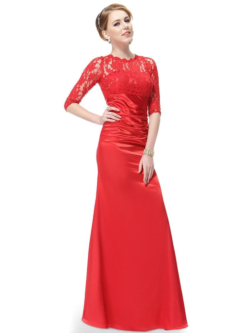 0f9166b051e Červené dlouhé pouzdrové šaty s 3 4 krajkovým rukávem elegantní 34 ...