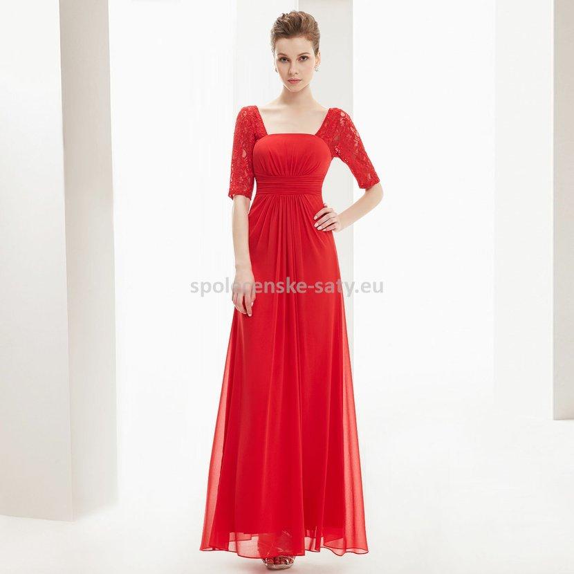 Červené dlouhé šifonové šaty s krajkovým rukávem 34 XS  c4940bfd00