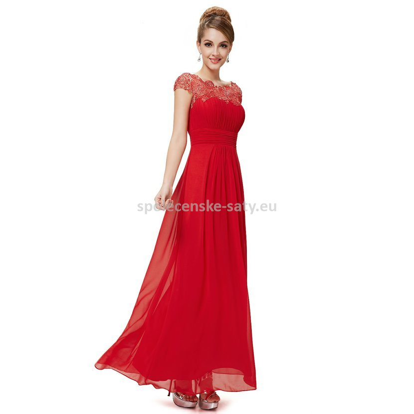 Červené dlouhé šaty do společnosti na ples svatbu s rukávkem 44 ... e0bf2951a04