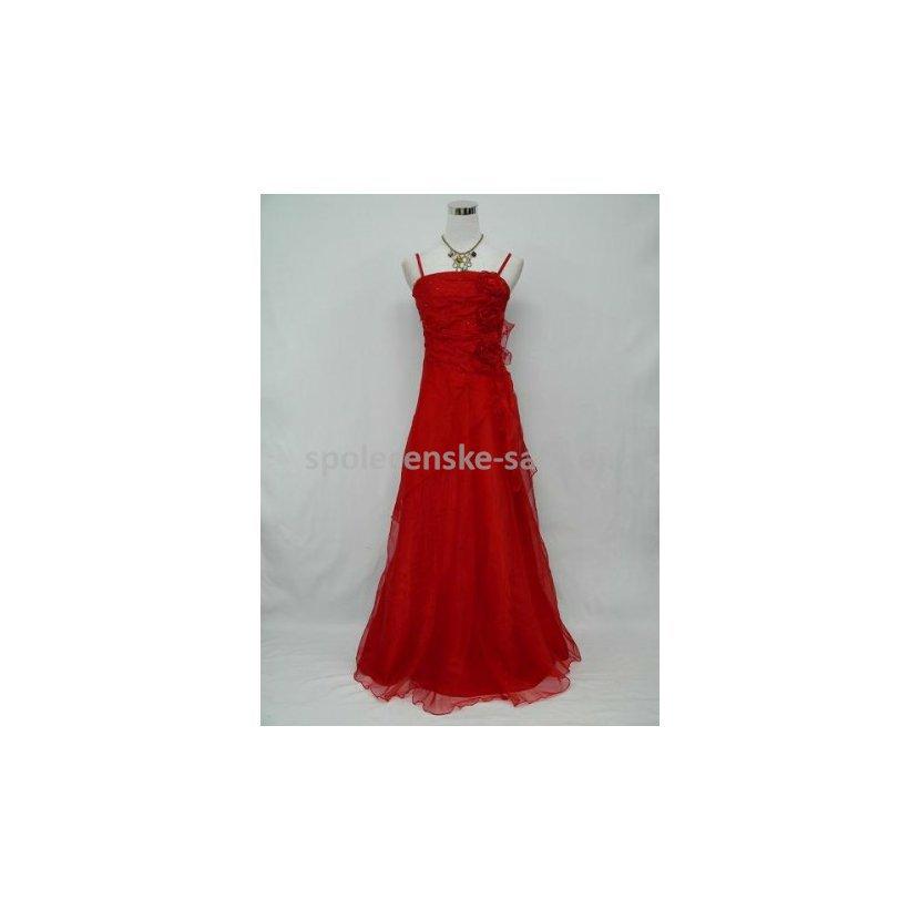 Červené dlouhé společenské svatební plesové šaty pro plnoštíhlé 46-48 XXXL 89c61ee536e