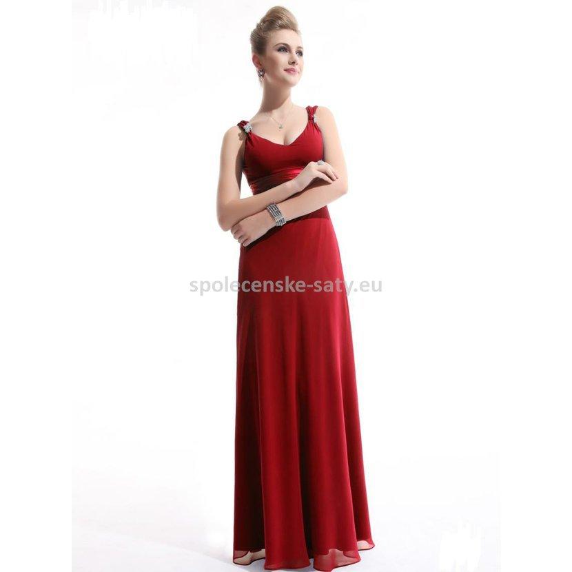 3f80000a0e1 Červené dlouhé společenské plesové svatební šaty šifonové na hrubší ramínka  42 XL