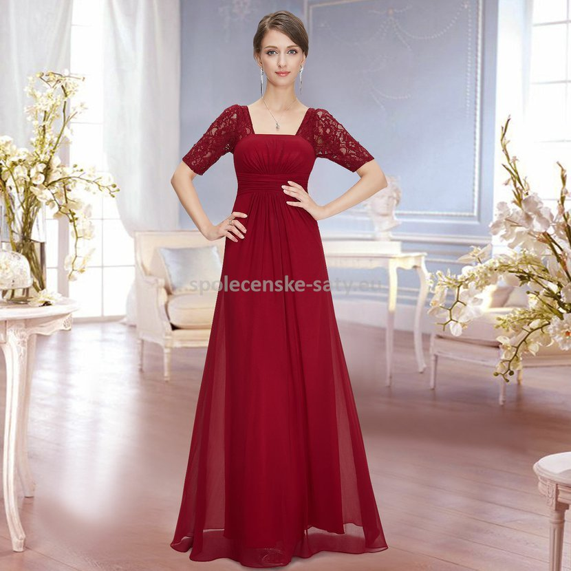 Červené vínové dlouhé šifonové šaty s krajkovým rukávem elegantní šaty 42 XL 02b5137021
