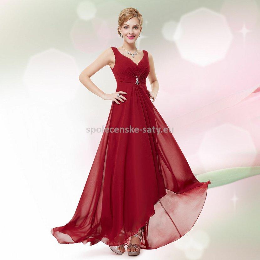 Vínové dlouhé společenské šaty na hrubší ramínka vpředu kratší 44 XXL ·  vínové dlouhé svatební společenské plesové ... ddfc2c6350