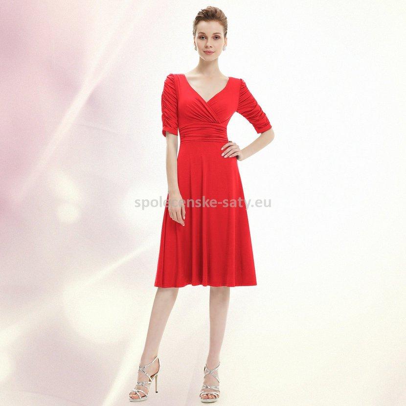 Červené krátké společenské šaty koktejlky s rukávem na svatbu 36 S ... 40c44c4dbda