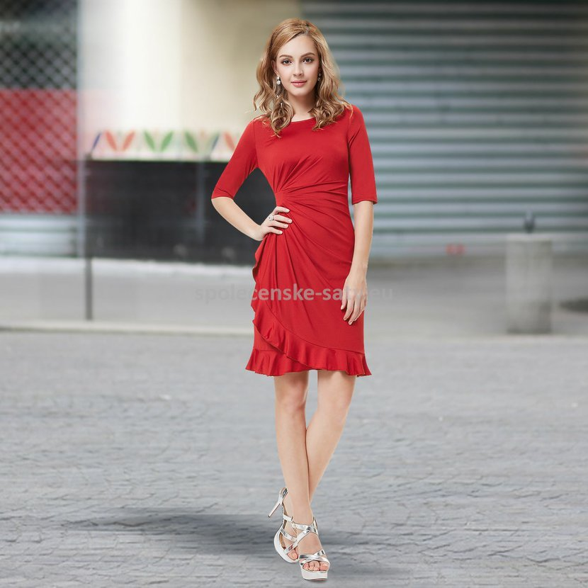 Červené krátké společenské šaty koktejlky s rukávem na svatbu 44 XXL ... 495eefea91
