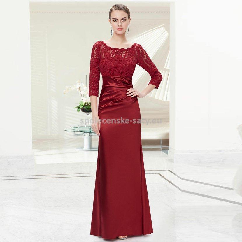 5b7980e2043 Vínově červené dlouhé pouzdrové šaty s 3 4 krajkovým rukávem elegantní 34 XS