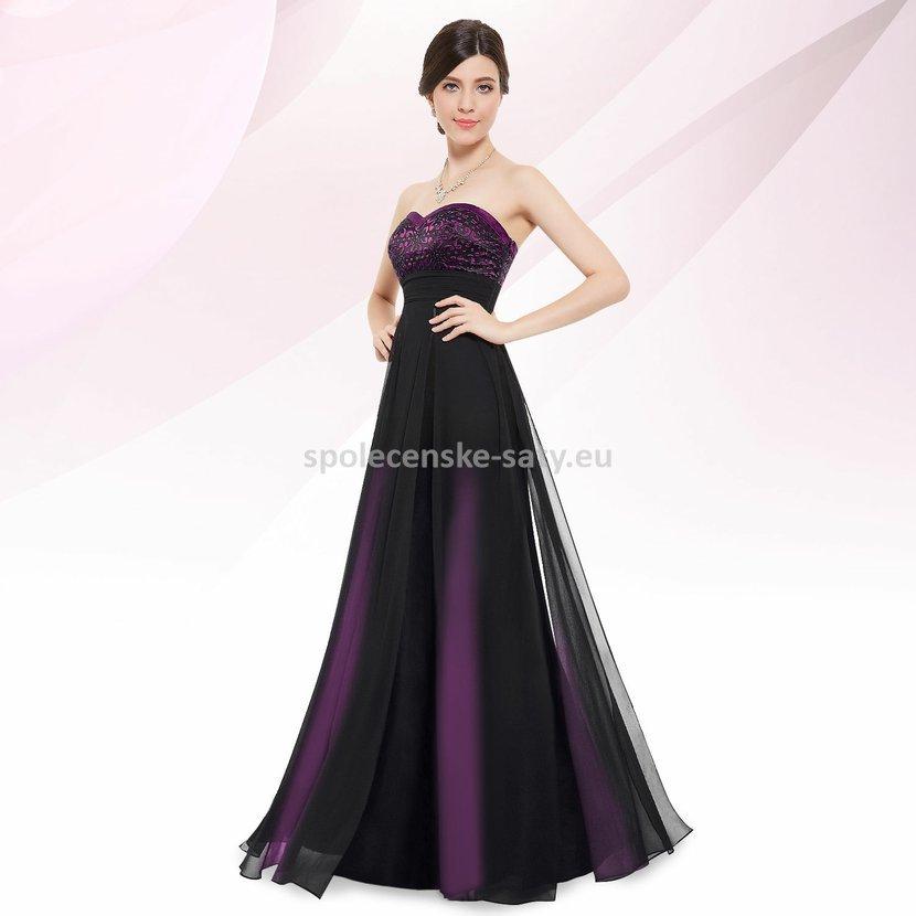 Černé fialové dlouhé šaty bez ramínek 34 XS  b78dad1e7c