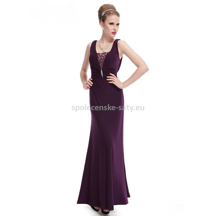 4a08087475b Fialové dlouhé strečové šaty na hrubší ramínka s krajkou 44 xxl ...