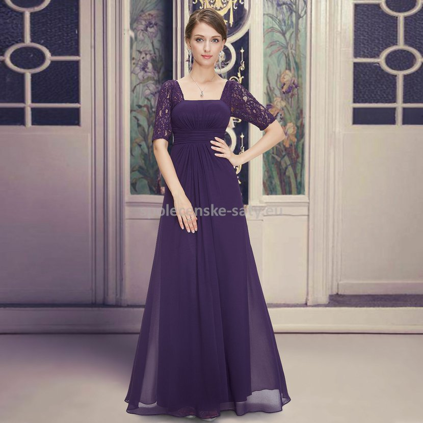 278f9051345 Fialové dlouhé luxusní šaty šifonové s krajkovým rukávem 36 S ...