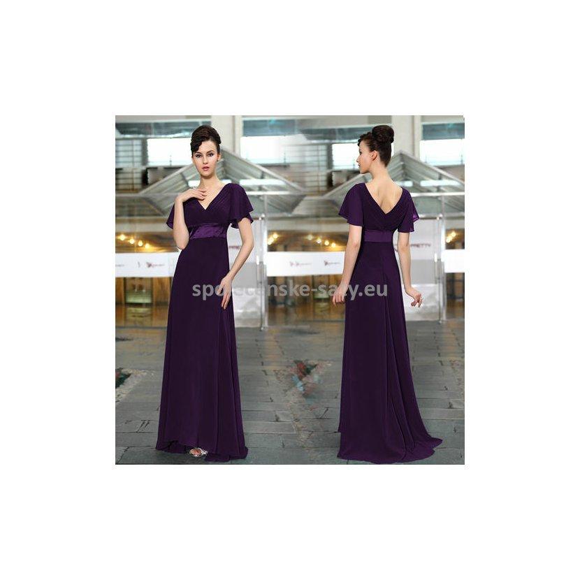 Fialové dlouhé šaty společenské s rukávem na svatbu ples 42 ... ca24da812a