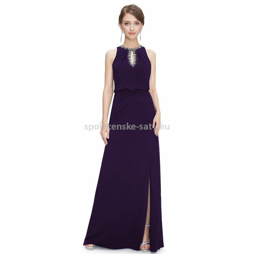 Tmavé večerní šaty fialové na svatbu 44 XXL  0022aaa2561