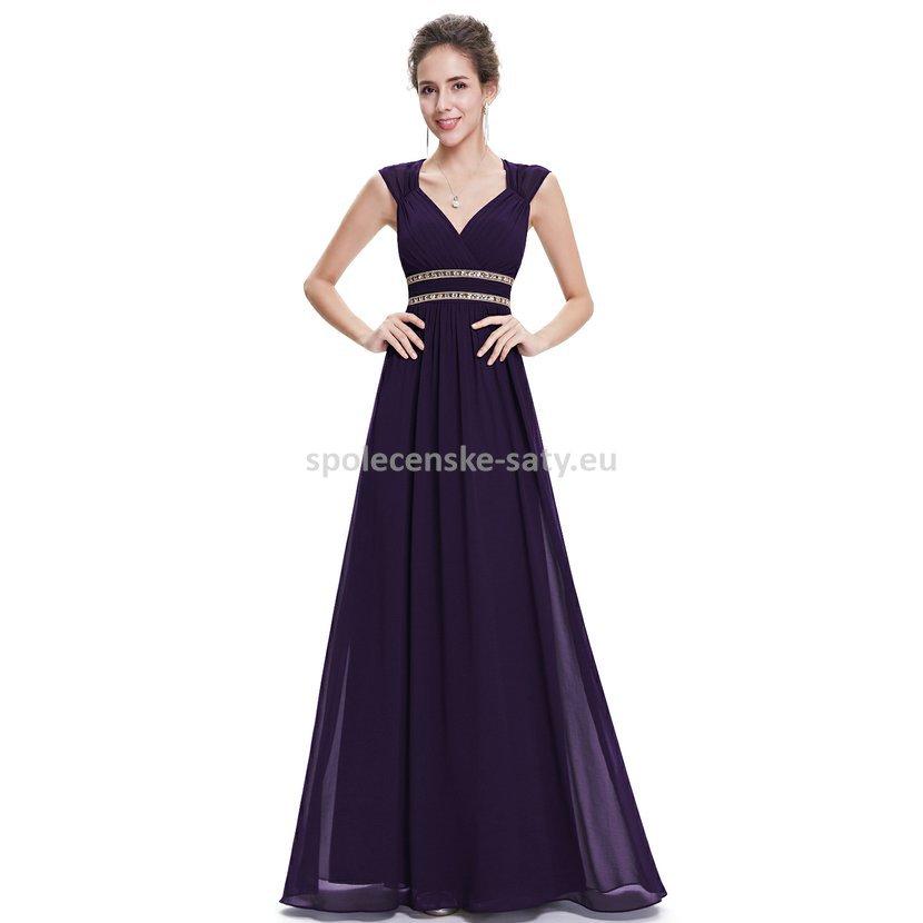 Fialové dlouhé společenské šaty ve stylu řecké bohyně 36 S ... 37e0ac5a51