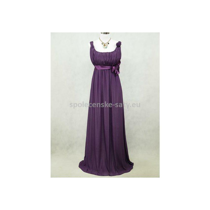 Fialové dlouhé šifonové šaty empírové i pro těhotné v nadměrné velikosti  50-52 b428c229569